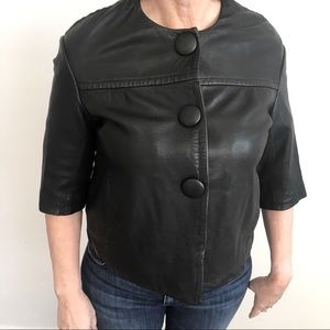 Vince - leather snap crop swing 3 button jacket